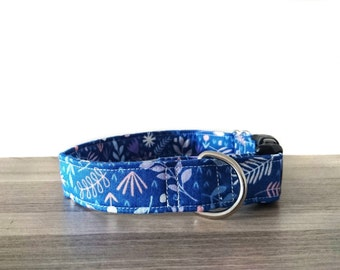 Floral Nature Fern Leaves Blue Martingale / Quick Release Collar / Greyhound / Whippet / Italian