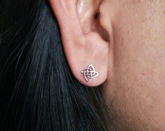 Celtic Knot Stud Earrings - 925 Sterling Silver - celtic jewellery - celtic jewelry - irish stud earrings - square celtic earrings - helix