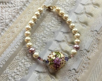 Lavender and Cream Flower/Floral Bracelet, Lampwork Jewelry, SRA Lampwork Bead Bracelet, Mothers Day Gift, Gift For Her