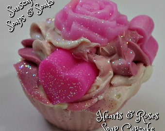 Cherry Kiss Soap Cupcakes with Hearts and Roses for your special Valentine