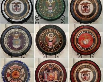 Handmade Custom Military Stained Glass Stepping Stones