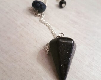 Goddess pendulum - witchcraft - triple moon - blue goldstone - divination - witchy gift - healing stones and crystals