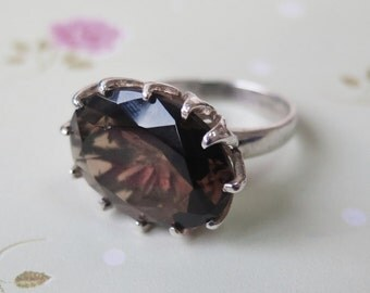 Brown Ring, Silver 925 Ring, Alternative Ring, Cubic Zirconia, Big Zircon Ring, Sterling Silver Ring, Brown Jewelry, Big Silver Ring
