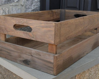 Rustic Wooden Crate, Wooden Crate with Handles, Rectangle Storage Crate, Farmhouse Decor, Rustic Decor