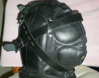Genuine Padded Leather Hood with Air Hole, Sensory Deprivation, Cosplay, Hand crafted USA