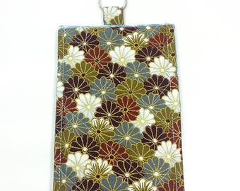Smartphone Sleeve Case Keyring Asian Flowers Brown White Gold