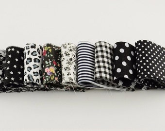 5cmx100cm 9 pcs/ lot 100% cotton printed black and white themed jelly roll fabric strips