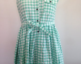 Size small to medium green and white gingham dress