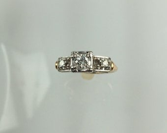 Vintage 1950's 3 stone diamond engagement ring .25ct