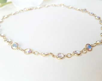 MAJESTIC • Swarovski iridescent crystal chain | Gold Plated •