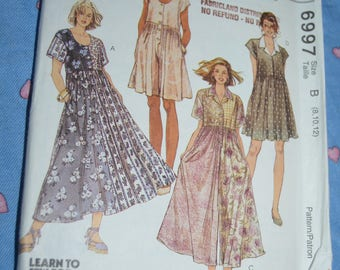McCalls 6997 Misses Dress in Two Lengths Jumpsuit and Rompers Sewing Pattern - UNCUT - Size  8 10 12