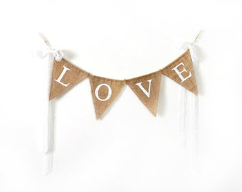 Burlap Banner, Love Wedding Sign, Wedding Photo Prop
