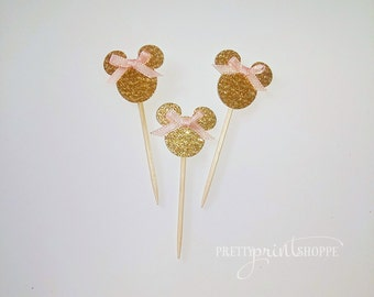 gold minnie mouse party minnie mouse inspired decoration gold minnie mouse toppers glitter minnie mouse baby shower minnie mouse toppers