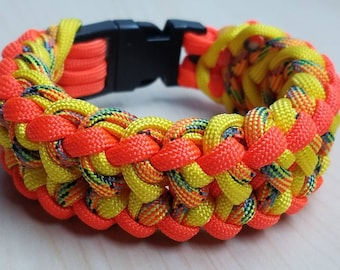 Orange and yellow paracord bracelet with buckle, neon bracelet, paracord jewelry, paracord accessories, gift for him, gift for her, paracord