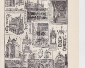 1922 french vintage original print of Flemish Art & Architecture Low relief sculptures to frame or scrapbooking A4 signed Dessertenne
