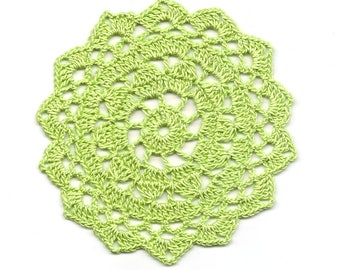 Mini Crochet Doily Lace Doilies Table decoration Crocheted Doily Centerpiece Handmade Wedding Doily Napkin Bohemian Decor Round Green Flower