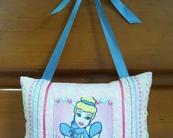 Tooth Fairy Pillow Girl Cinderella Princess Pink Blue Embroidered Ribbon Lace - Lost Tooth - Hanging Pillow - Tooth Cushion