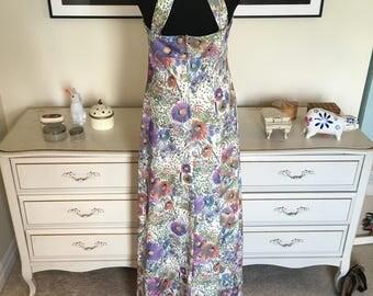 Beautiful floral 70s summer maxi dress 4 6 small-medium