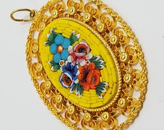 Simply Gorgeous Micro Mosaic (micromosaic) Pendant with Floral Theme