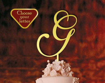 Letter G, Initial Cake Topper, Gold Monogram Cake Topper, Wedding Cake Topper Initial, Single Letter Cake Topper, Cake Topper Letter, CT#037