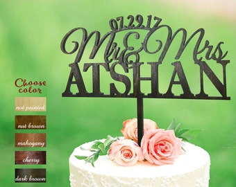 Surname Cake Topper, Mr and Mrs Cake Topper Wooden, Custom Wedding Cake Topper, Personalized Cake Topper, Wooden Cake Topper natural, CT#095