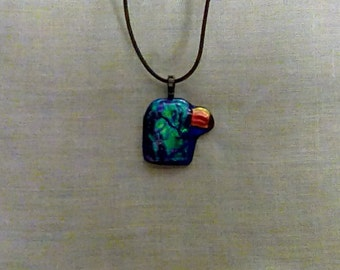 Fabulous blue and copper dichroic glass pendant