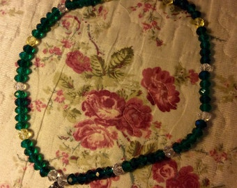 Ras collar to neck in blue/green and translucent Crystal beads