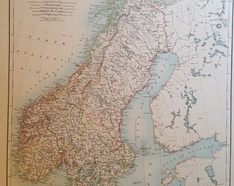 Original Antique map of Sweden and Norway