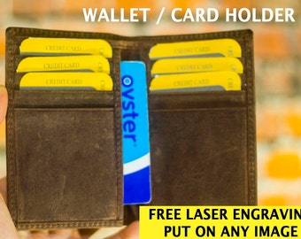 Personalized Credit Card Wallet Vintage Genuine Leather