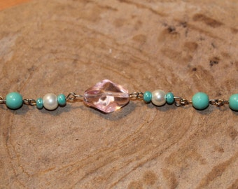 Glass turquoise and pink beaded bracelet
