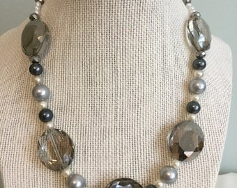 """Upcycled Vintage Beads - """"Glamour"""" Necklace  - Jewelry Made with Vintage/ Recycled Materials"""