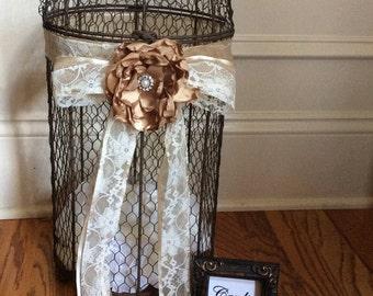 Extra large wedding card bird cage card holder/elegant brown bird cage wedding card holder/wedding decor/rustic wedding bird cage