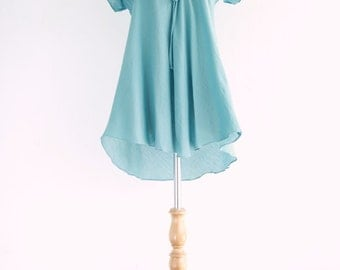Women Romantic Light Blue Flowy Cotton Peasant Blouse - Dolly Tunic Length - TOP015