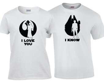 I love You I Know Han and Leia  Star Wars Quote Matching Couples Shirt Set