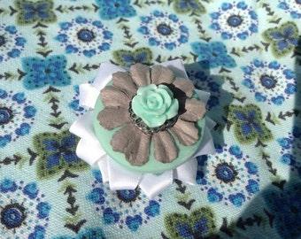 Teal rose and ribbon hair clip