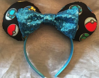 Pokemon Mickey or Minnie Ears! Handmade Sewn & Stuffed- Fits Child to Adult