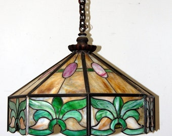 Antique 1910s Stained Glass Light Fixture, Vintage Lighting, Original