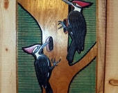 Pileated Woodpeckers, Carving, Mohaganny Wood, Original