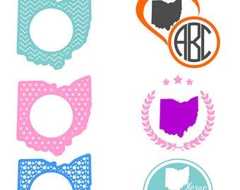 Ohio SVG State Monogram, Ohio Monogram Frames, Monogram state vector, Home, Eps, Svg, Cdr, Dxf, Dwg, Jpg, Png, Studio3. Ohio clipart files
