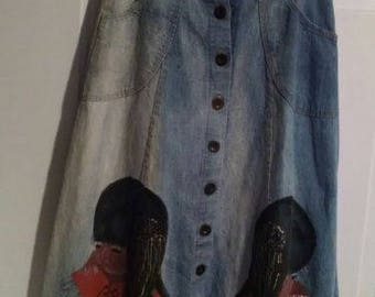 Vintage Jean Skirt M wearable art hand painted native american face