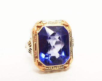 14 Karat White Gold With Rose Accents Blue Synthetic Stone Ring