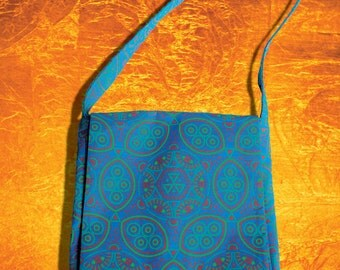 Vegan, hand printed messenger bag.
