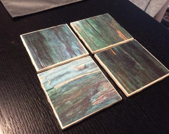 Watercolor wood patterned Ceramic coasters