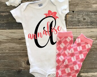 Personalized one piece, baby girl bodysuit, coming home outfit