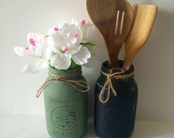 Distressed mason jar set, quart mason jar set, matte mason jars, hand painted mason jars, mason jar kitchen set,  mason jar vase, home gifts