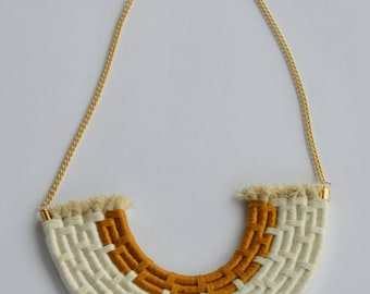 Mustard and White Rope Necklace