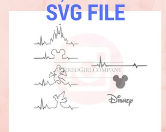 SVG Disneyland feat Mickey Heartbeat SVG instant download file | DIY cute vinyl stickers, cute gift for her, diy print and cut cute t-shirt