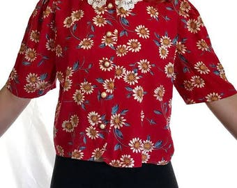 Women's Floral Cropped Button Up (Size M)