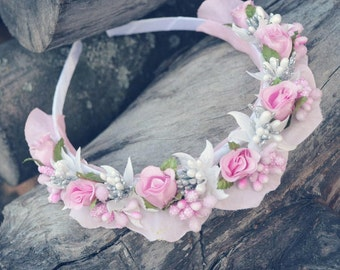 Charming hair band with a pink rose headband pink headband with pink flowers, delicate headband