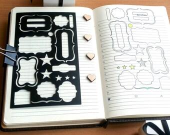 Planner Stencil, Bullet Journal Stencil, Basic Frames Stencil - fits pocket, passport and field note